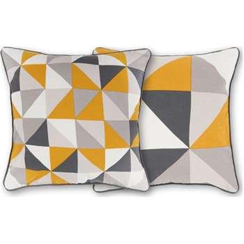 Henrik Set of 2 Cushions, Mustard Grey (H45 x W45cm)
