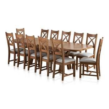 Hercules 6ft Extending Dining Set in Rustic Solid Oak & 12 Cross Back Plain Grey (H77 x W180 x D100cm)