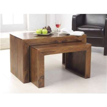 Heritage Furniture UK Laguna Sheesham Nest of 2 Coffee Tables (Width 85cm)
