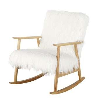 Hermann White Faux Fur Vintage Rocking Chair (H85 x W61 x D80cm)