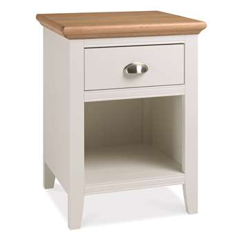 Heronford Oak and Ivory 1 Drawer Bedside Cabinet (H61 x W46 x D42cm)
