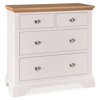 Heronford Oak and Ivory 2 Over 2 Drawer Chest (H90 x W99 x D48cm)