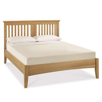 Heronford Oak Slatted Headboard Double Bed Frame (H111 x W151 x D205cm)