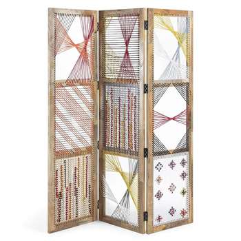 Hester Room Divider with Cord Design (H183 x W155 x D2.5cm)