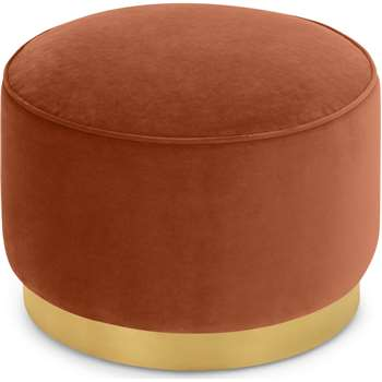 Hetherington Large Brass Base Pouffe, Nutmeg Orange Velvet (H40 x W60 x D60cm)