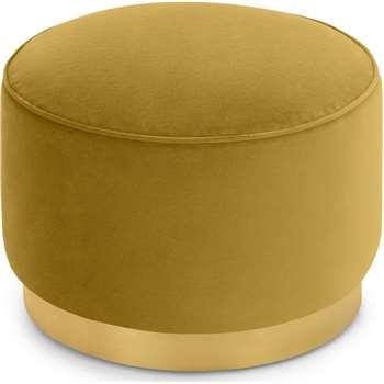Hetherington Large Brass Base Pouffe, Vintage Gold Velvet (H40 x W60 x D60cm)