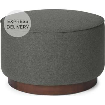 Hetherington Large Wooden Pouffe, Coventry Grey & Dark Stain Wood (H40 x W60 x D60cm)