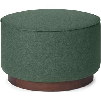 Hetherington Large Wooden Pouffe, Darby Green & Dark Stain Wood (H40 x W60 x D60cm)