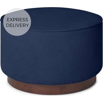 Hetherington Large Wooden Pouffe, Midnight Corduroy Velvet with Dark Stain Wood (H40 x W60 x D60cm)