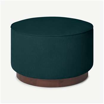 Hetherington Large Wooden Pouffe, Pine Corduroy Velvet with Dark Stain Wood (H40 x W60 x D60cm)