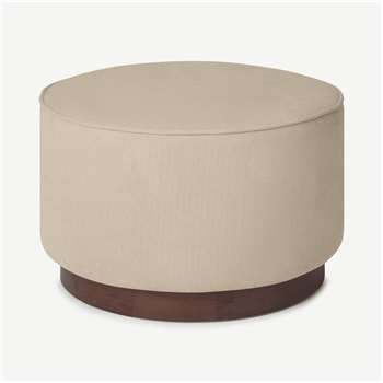 Hetherington Large Wooden Pouffe, Stone Corduroy Velvet with Dark Stain Wood (H40 x W60 x D60cm)