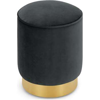 Hetherington Small Brass Base Pouffe, Midnight Grey Velvet (H40 x W35 x D35cm)