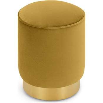 Hetherington Small Brass Base Pouffe, Vintage Gold Velvet (H40 x W35 x D35cm)