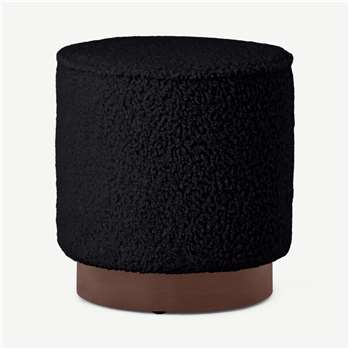 Hetherington Small Wooden Pouffe, Black Faux Sheepskin & Dark Stain (H40 x W35 x D35cm)