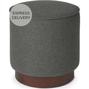 Hetherington Small Wooden Pouffe, Coventry Grey & Dark Stain Wood (H40 x W35 x D35cm)