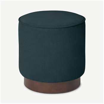 Hetherington Small Wooden Pouffe, Pine Corduroy Velvet with Dark Stain Wood (H40 x W35 x D35cm)