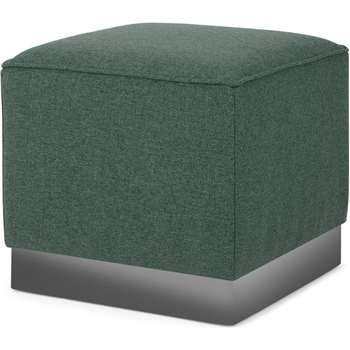 Hetherington Square Pouffe, Darby Green with Nickel Base (H40 x W45 x D45cm)