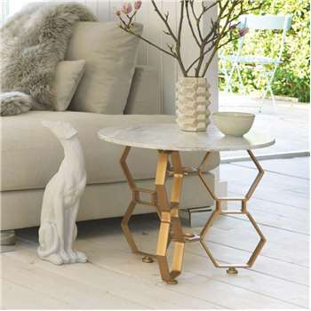 Hex Side Table With Marble Top (50 x 60cm)