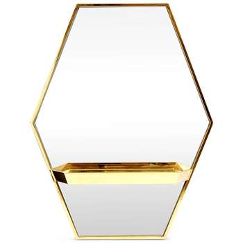 Hexagonal Shelf Mirror, Gold (H78 x W61.5 x D14cm)