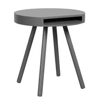 Hide & Seek Lounge Side Table with Open Storage - Grey (46 x 50cm)
