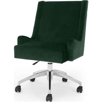 Higgs Office Chair, Pine Green Velvet (H92 x W57 x D66cm)