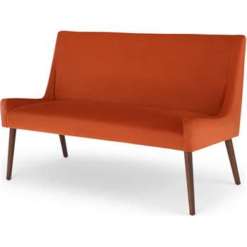 Higgs Upholstered Bench, Flame Orange Velvet (H84 x W133 x D64cm)