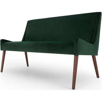 Higgs Upholstered Bench, Pine Green Velvet (H84 x W133 x D64cm)