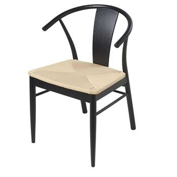 HILDA Black Solid Oak and Woven Paper Cord Chair (H83 x W55 x D54cm)