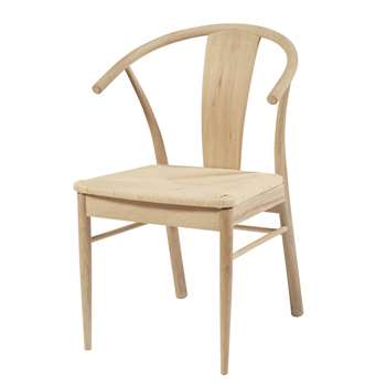 HILDA Solid Oak and Woven Paper Cord Chair (H83 x W55 x D54cm)