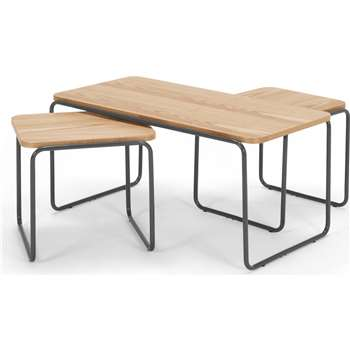 Hill Coffee and 2 x Nesting Side Tables, Ash and Grey (44 x 90cm)