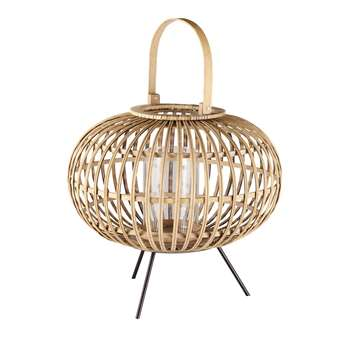 HINATEA Glass and Woven Wicker Lantern (45 x 41cm)