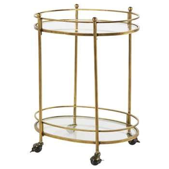 HIPPOLYTE Aged-Effect Brass Metal and Glass Serving Trolley (H77 x W63 x D38cm)