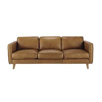 HIPSTER 3 seater leather vintage sofa in camel