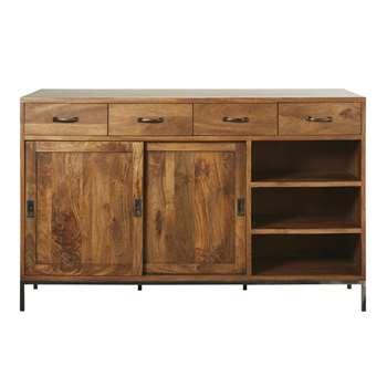 HIPSTER - Solid Mango Wood 2-Door Bar (H160 x W100 x D75cm)