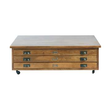 HIPSTER Solid Mango Wood 3-Drawer Wheeled Coffee Table (40 x 120cm)