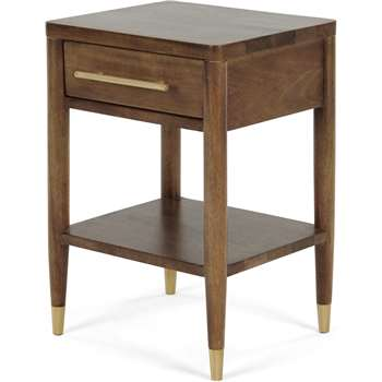 Hix Bedside Table, Mango & Brass (H59 x W35 x D40cm)