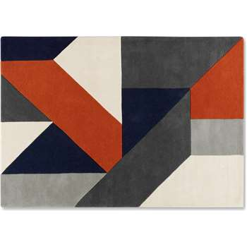 Holden Geometric Hand Tufted Wool Rug, Burnt Orange & Charcoal Grey (H160 x W230 x D2cm)
