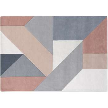 Holden Geometric Hand Tufted Wool Rug, Neutral Pink (H160 x W230 x D1.7cm)