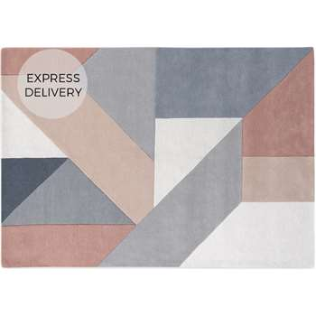 Holden Geometric Hand Tufted Wool Rug, X Large, Neutral Pink (H200 x W300 x D2cm)