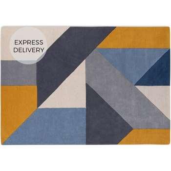 Holden Geometric Hand Tufted Wool Rug, X Large, Tonal Blue (H200 x W300 x D2cm)