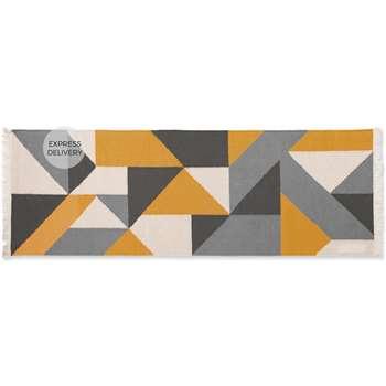 Holden Geometric Woven Cotton Runner, Yellow/Grey (H66 x W200 x D0.5cm)