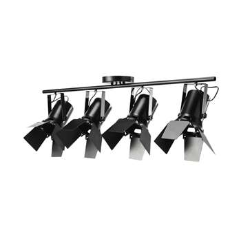 HOLLYWOOD Metal Ceiling Light With Directional Spotlights Black In Black (36 x 103cm)