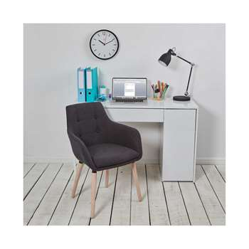 Holmes High Gloss Office Desk with Hidden Storage, White (76 x 120cm)
