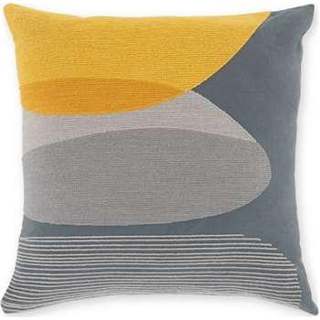 Holt Embroidered Cotton Cushion, Multi Grey (H45 x W45cm)