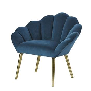 HOMARID Peacock Blue Vintage Armchair (H75 x W81 x D66cm)