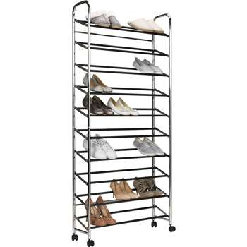 HOME 10 Shelf Rolling Shoe Storage Rack - Chrome (158.5 x 73cm)