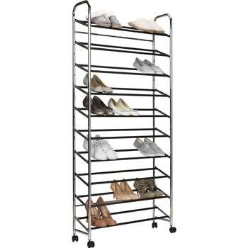 HOME 10 Shelf Rolling Shoe Storage Rack - Chrome (158.5 x 73cm)