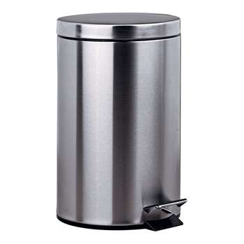 HOME 12 Litre Pedal Kitchen Bin - Silver 40 x 25cm