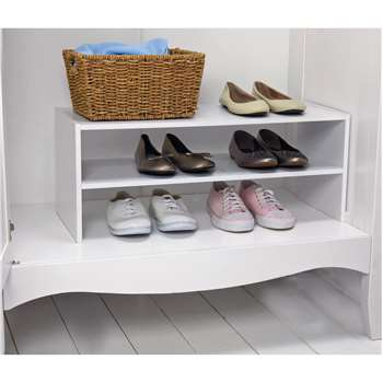 HOME 2 Shelf Internal Wardrobe Shoe Storage Rack - White (28 x 70cm)