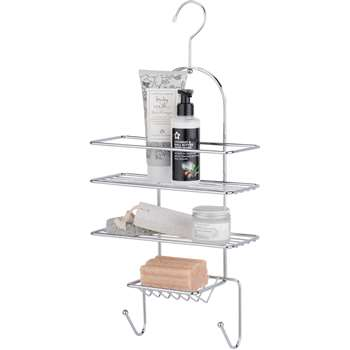 HOME 2 Tier Hookover Shower Caddy - Chrome (54 x 26cm)